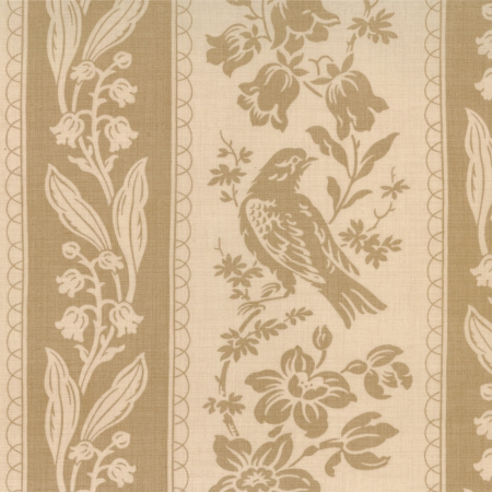 Maison de Garance Border Stripe Birds and Flowers on Oyster 13545-11