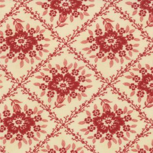 Midwinter Reds Red Floral Trellis on Cream 14761-15
