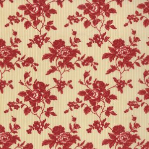 Midwinter Reds Red Floral on Narrow Ecru Stripe 14762 15