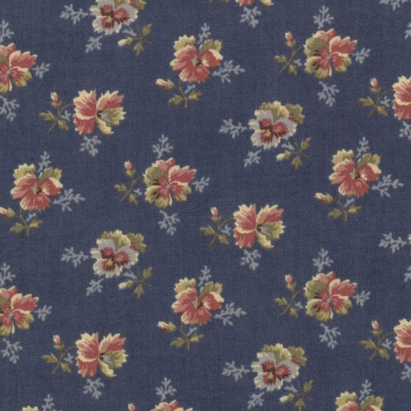 Old Fashioned Calicoes Multi-Shade Pansies on Blue 8202-12