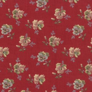 Old Fashioned Calicoes Multi-Shade Pansies on Deep Red 8202-14