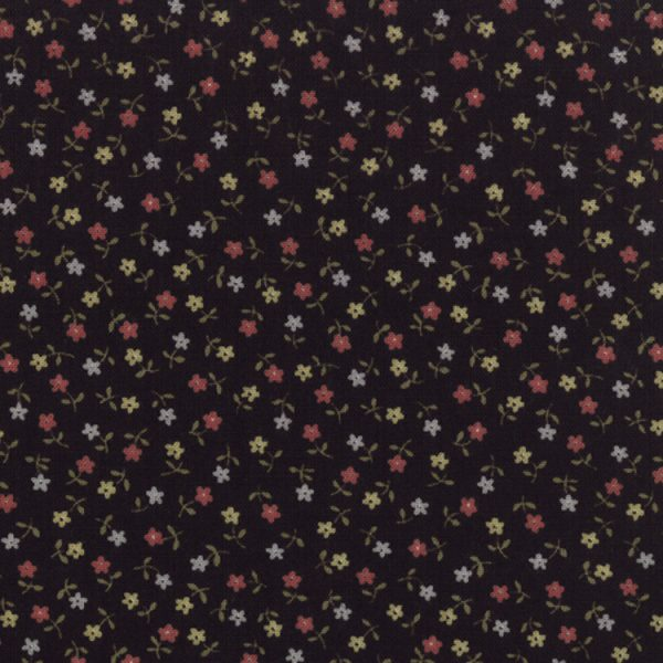 Old Fashioned Calicoes Tiny Multi-Color Blooms onBlack 8204-11