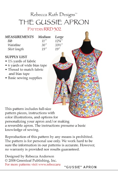 Gussie Apron RRD-302 Supply List