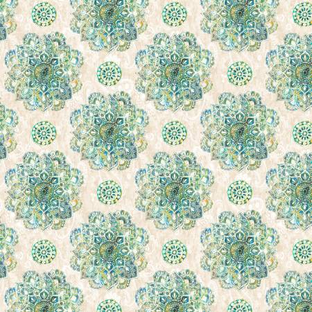 Bohemian Dreams Blue Green on Cream Mandalas 89193-171