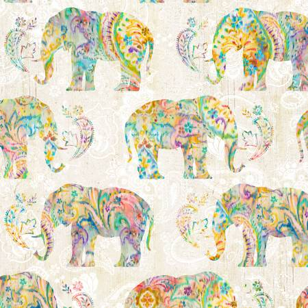 Bohemian Dreams Elephants on Cream 89191-154