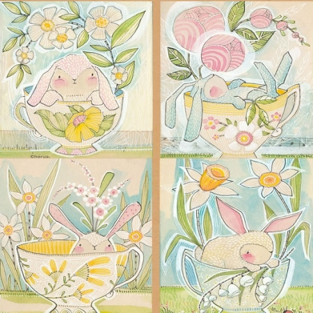 Promise of Spring - Tea with Bunny Panel 112-113-01-1