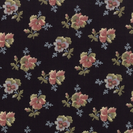Old Fashioned Calicoes Multi-Shade Pansies on Black 8202 11