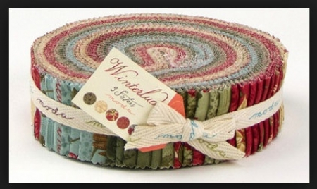 "Beautiful Christmas fabrics in the 2-1/2"" strips of a jelly roll by 3 Sisters for Moda. Winterlude fabrics Winterlude fabrics"