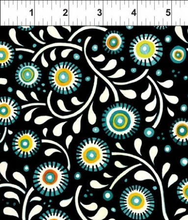 Hey Diddle Diddle Allover White Flowers on Black 6JPJ-1