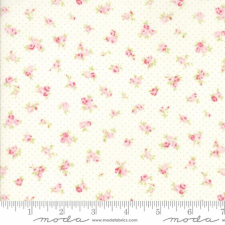 Fleurs Tiny Dots and Pink Rose Buds on Linen 18632 11