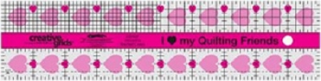 I Love My Quilt Friends Quilt Ruler 2x10in CGRQF