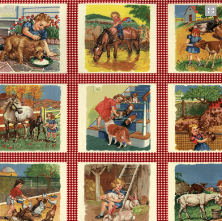 Potluck Farm Yard Panel Red 21640-11