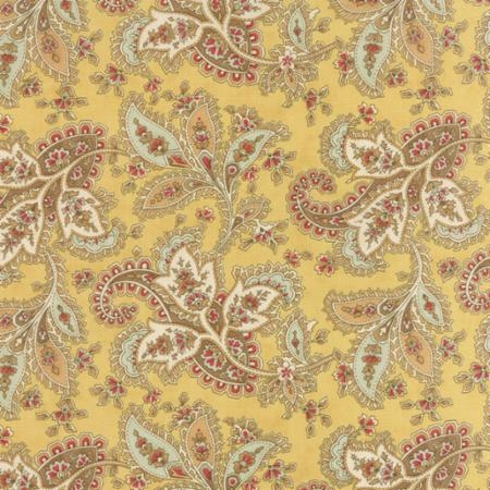 Larkspur White and Blue Paisley on Straw 44101 12